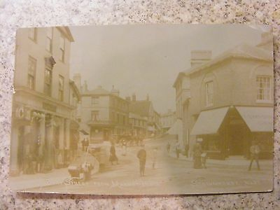B&w Rp Postcard Of Bury Street From Market Place, Stowmarket, Suffolk