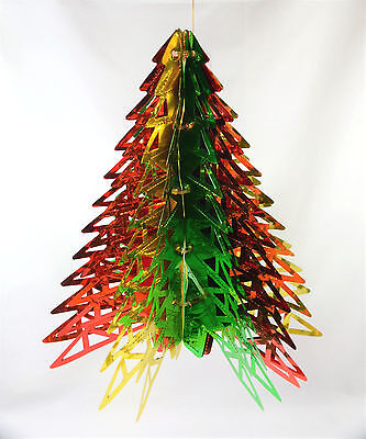 2 Large Matching Vintage Foil Christmas Hanging Tree Shaped Cieling Decorations