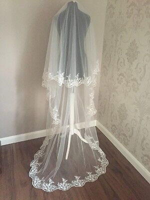 NEW Ivory & Champagne Wedding/Bridal Mantilla Veil With Comb (V35)