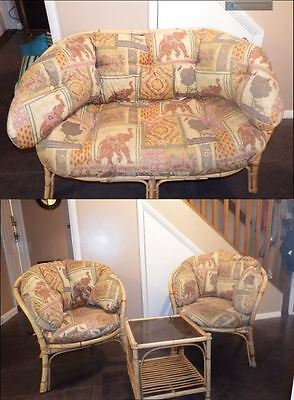 Cane Wicker Furniture 2 seater & 2 single seats with table ideal 4 conservatory