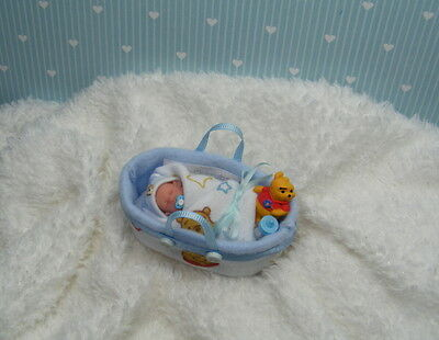 OOAK Miniature Handmade Baby Boy  * 1/12th SCALE TINY *  DOLLS HOUSE DOLL ARTIST