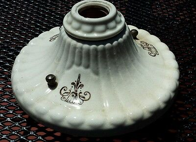 Vtg Antique Porcelain Floral Ceiling/Wall Sconce Round Single Light Fixture