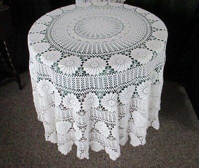 """VINTAGE ROUND TABLECLOTH - ALL HAND CROCHET - WHITE - 72"""" dia"""