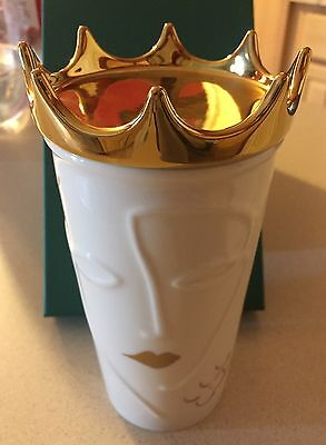 Starbucks Ceramic Gold Crown Anniversary Holiday 2016 Siren Coffee Cup NEW