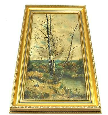 19thC Painting Oil on Canvas - Ducks On water Country Lane - Landscape Picture