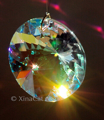 Round Faceted Prism 40mm Austrian Crystal Clear AB Prism SunCatcher 1.5 inches