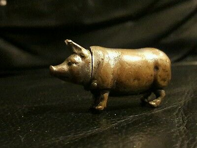 Vintage Silver Plated On Brass Pig Vesta Case collectable and very quaint!