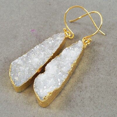 Natural Agate Druzy Titanium AB Dangle Earrings Gold Plated H65669