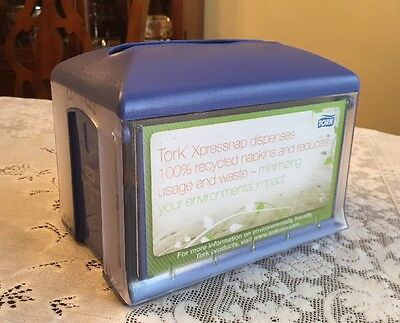 Tork Xpressnap 45XPT Tabletop Napkin Dispenser - Blue - Easy to Personalize