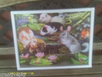 Wooden Jigsaw Picture Puzzle Lap Tray with Guinea Pig Rabbit Chinchilla Ferret