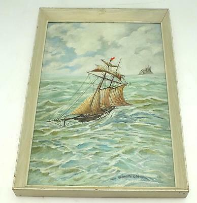 19thC Coastal Ship on Board Painting - Sail Boats On Coast White Frame Picture