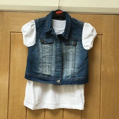 Girls George  Denim jacket gilet and white t shirt Age 10-11 excellent cond