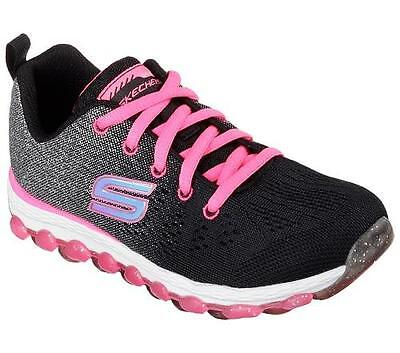 Girl's Youth SKECHERS SKECH-AIR ULTRA 80035 Black/Pink/Silver Sneakers Shoes New