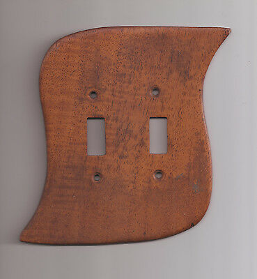 Mid Century Modern Teak Wood Switch Plate Vintage and Hand Crafted