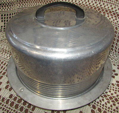 Vintage Aluminum Cake Cover Regal Ware Inc Metal Plate & Dome Lid w Black Handle