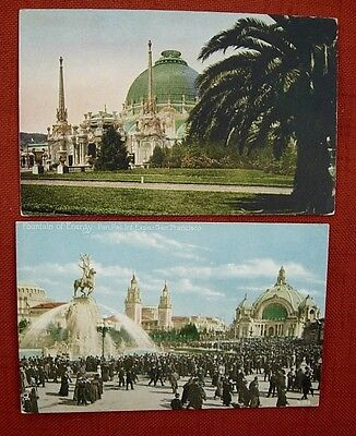 2 PPIE Postcards FOUNTAIN of ENERGY w CROWDS BUILDINGS San Francisco