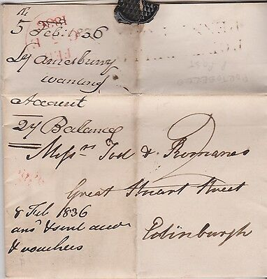 1836 Portobello Penny Post Cancel On Letter Refers To Lady Amesbury