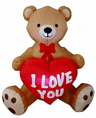 4 Foot Tall Valentine's Day Inflatable Teddy Bear with Love Heart Yard Blow U...