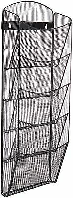 Safco Products 5578BL Onyx Mesh Magazine Wall Rack 5 Pocket Black