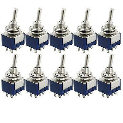 TOOGOO(R) 10 Pcs AC 125V 6A Amps ON/ON 2 Position DPDT Toggle Switch