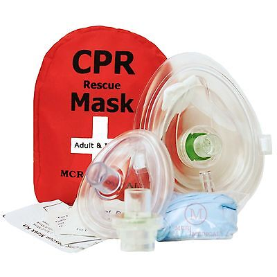 Adult & Infant CPR Mask Combo Kit with 2 Valves MCR Medical
