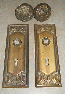 Vintage Brass Door Knobs with Plates from Aladdin Kit Home 1925 not Sears