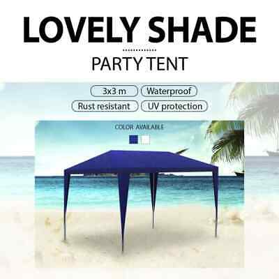 White/Blue Outdoor 3x3m Party Tent Gazebo Marquee Folding Canopy Wedding Shade