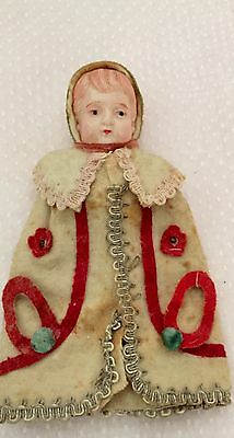 Antique Victorian  Doll face squeaker Girl Christmas ornament