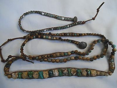 Vintage Leather Green Turquoise Nugget Hippie Necklace & Bracelet - Brown Beads