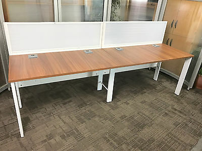 Walnut & White Office Bench Desks with Screens [2 Position Workstation] 2 Person
