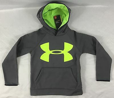 Under Armour Boys Sweater Hoodie Gray Fuel Green Gear Storm YOUTH L