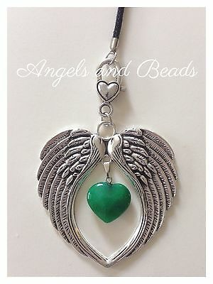 Keychain. Angel wings with Natural Jade heart. Good Luck stone. Gift. Heart.