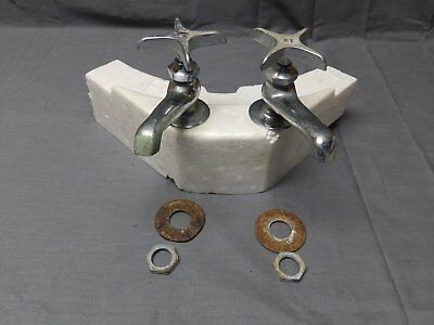 Vtg Pr Chrome Brass Separate Hot Cold Deck Mount Sink Faucets Plumbing 2268-16