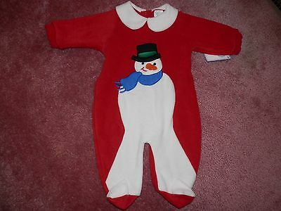 Baby Girl Boy Outfit One Piece Fleece Footed Snowman Size 3 6 Months NEW NWT
