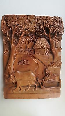 Asian Hand Carved High Relief Wood Wall Plaque Panel Home Restaurant Decor 12X16