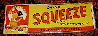 Vintage SQUEEZE SODA Tin Sign - Still Bright - Edge Damage