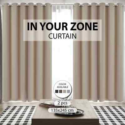 4 Colours Blockout Curtain Room Darkening Drape Pure Fabric Slot/Eyelet 2 Panel