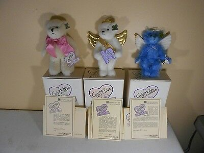 Lot Of 3 Collectible Annette Funicello  Bears, Cute  Angel Bears with Boxes