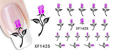 Nail Tips Art Stickers Transfer Wrap Water Decals Rose Flower 3D Design Manicure