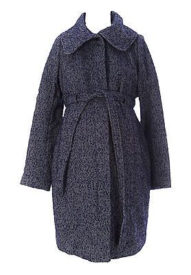 JULES & JIM Maternity Women's Blue Belted Coat J620 Sz M $250 NEW