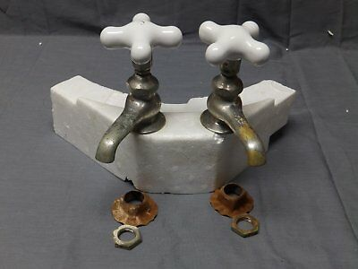 Antique Pr Nickel Brass Separate Hot Cold Sink Faucets Porcelain Handles 2271-16