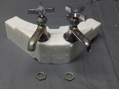 Vtg Pr Chrome Brass Separate Hot Cold Deck Mount Sink Faucets Old Kohler 2272-16