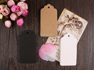 50-100pc Brown Kraft Gift Tags Wedding Scallop Label Blank Luggage + Strings T1