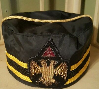 Vintage 32nd Degree Freemason Scottish Rite Masonic Hat Cap Size 7 1/8 Bullion