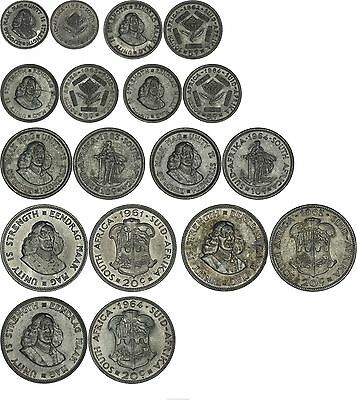 South Africa: collection of 9 different decimal coins silver 1961-1964
