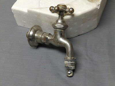 Large Antique Nickel Brass Wall Mount Sink Hot Faucet Tap Spigot Vtg  2274-16