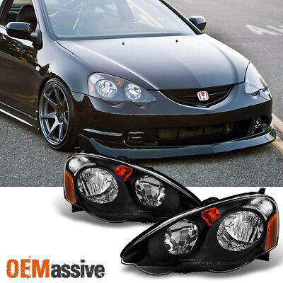 2002 2003 2004 Acura RSX LH + RH Replacement Black Head Lights Assembly Set Pair