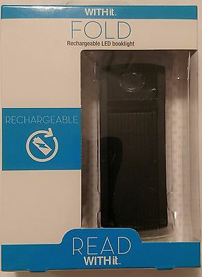 Fold Rechargeable LED Reading Book Light by WITHit Black Sealed NEW