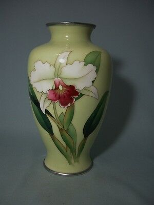 Japanese Ando Cloisonne Vase Orchid