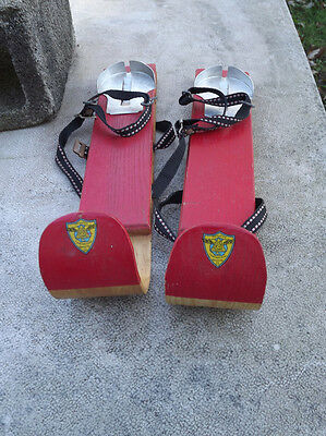 Vintage F.D. Peters Wooden Children's Skates Red Wooden Toboggan Skis